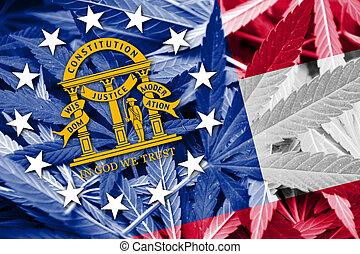 Georgia State Flag on cannabis background. Drug policy. ...