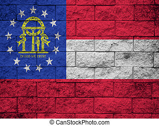 Georgia State Flag painted on wall