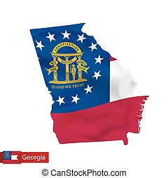 Georgia state map with waving flag of US State.