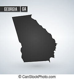Georgia State vector map silhouette isolated on white background.