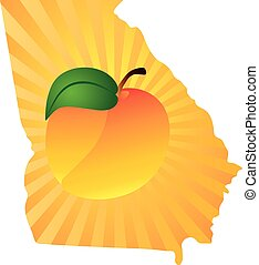 Georgia State with Peach Color Illustration - Georgia State ...