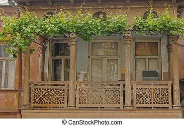 Traditional georgian balconies in Old town of Tbilisi, Georgia