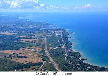 Georgian bay aerial - aerial view along the Georgian bay ...