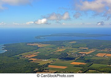 Georgian bay aerial - aerial view of a rural area along the ...