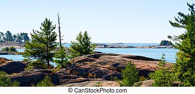 Georgian Bay coastline - Canadian Shiled rock formations on...