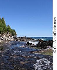 Georgian bay - water; nature; summer; shore; ston