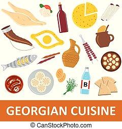 Georgian cuisine vector illustration. Georgian national food...