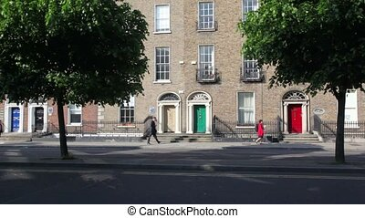 Georgian Doors at Edwardian townhouses - DUBLIN - JUNE 10:...