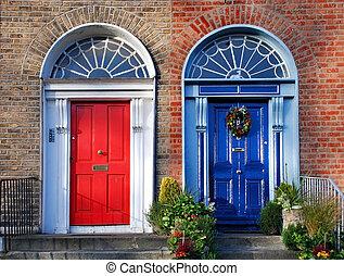 Georgian doors in Dublin - twin doors in red and blue
