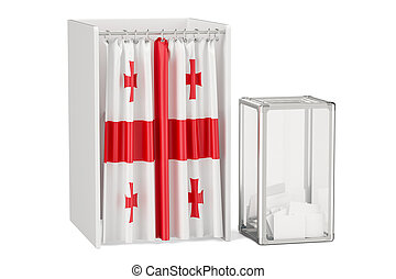 Georgian election concept, ballot box and voting booths with flag of Greece, 3D rendering