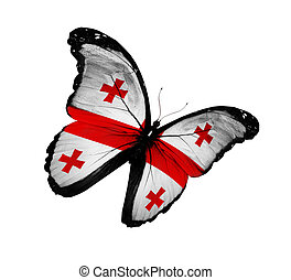 Georgian flag butterfly flying, isolated on white background