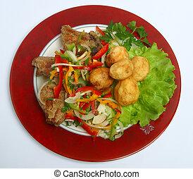 Georgian, food, dinner, fresh, meat, roast, mea