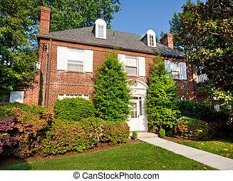 georgian, kolonial stiliser, mursten, enlig familie hus, washington washington. dc.