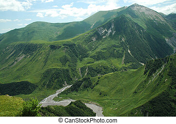 Georgian Military Highway, Caucasus, between Georgia and...
