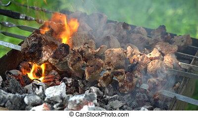 Georgian mtsvadi, Shashlik preparation. Smoking shashlik on ...