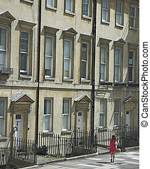 Georgian Street - A classic Georgian street facade in Bath,...