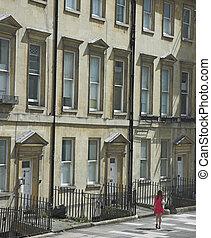 Georgian Street - A classic Georgian street facade in Bath,...