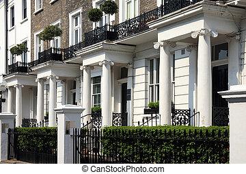 Regency Georgian terraced town houses in London's, Kensington, England