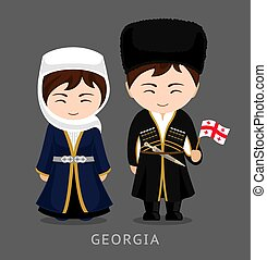 Georgians in national dress with a flag.