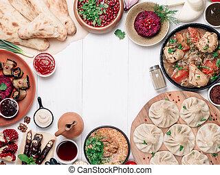 georgiansk, synhåll, kokkonst, tabell högsta, vit