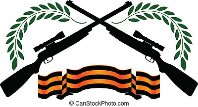georgievsy ribbon and sniper rifles. second variant. vector...