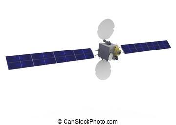 geostationary, satellit, 3d