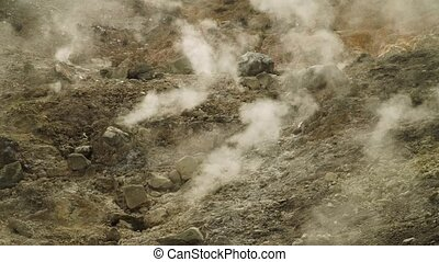 geothermal activity and geysers - plateau with geothermal...
