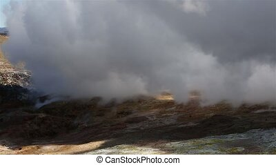 Geothermal Activity in Iceland - Steaming vents at Gunnuhver...