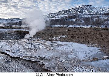 Haukadalur, Iceland, Europe - Geothermal area Haukadalur, ...