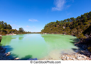 geothermal area in new zealand - geothermal lake at...
