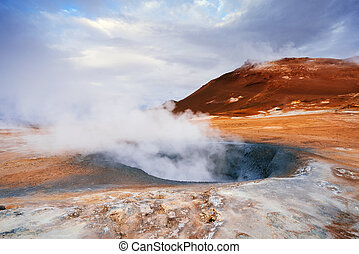 Geothermal area Namafjall with steam eruptions, Iceland, ...