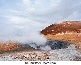 Geothermal area Namafjall with steam eruptions, Iceland,...