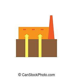 geothermal colored flat icon vector design illustration.