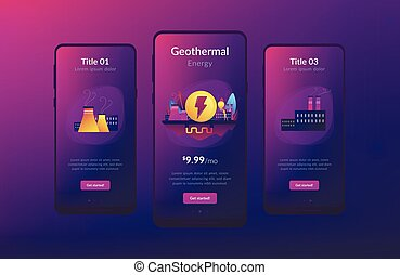 Geothermal energy app interface template. - Eco friendly...