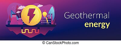 Geothermal energy concept banner header. - Eco friendly...