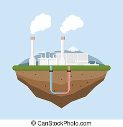 Geothermal energy concept. Eco friendly geothermal energy...