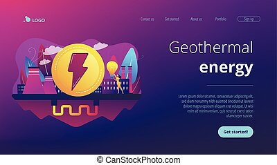 Geothermal energy concept landing page. - Eco friendly...
