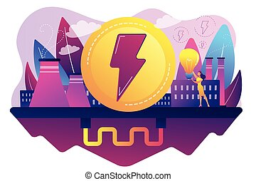Geothermal energy concept vector illustration. - Eco...