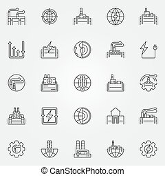 Geothermal energy icons set - vector geothermal power...