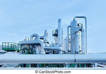 Geothermal energy. Pipes details of a power station. -...