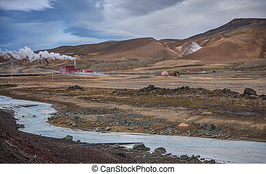 Geothermal Energy Station and River in Iceland