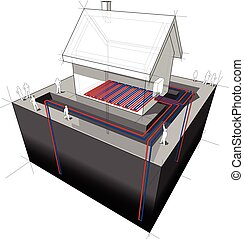 geothermal heat pump/underfloor heating diagram
