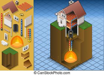 geothermal heat pump/underfloorheating diagram - detailed...
