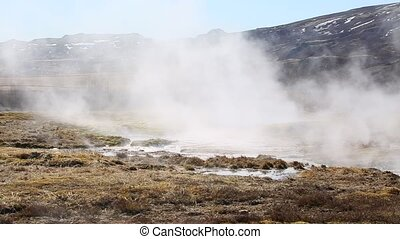 Geothermal hot pool in Iceland's Geyser area