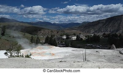 Yellowstone National Park - Geothermal pool in Mammoth Hot...