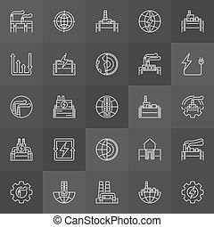 Geothermal power linear icons. Vector renewable energy,...