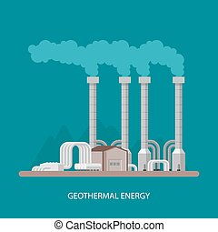 Geothermal power plant and factory. Energy industrial concept. Vector illustration in flat style. Electricity station background.