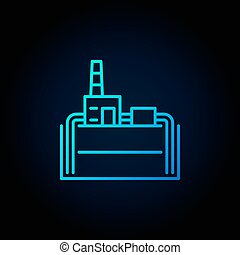 Geothermal power plant blue icon. Vector industrial building...