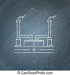 Geothermal power plant chalkboard sketch - Outline...