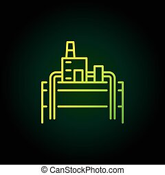 Geothermal power plant green icon - vector colorful symbol...